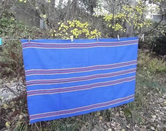 Blue tablecloth.Woven Tablecloth. Cotton tablecloth. Home decor. Scandinavian Pattern. Swedish Vintage 1970s.