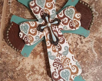 Cowhide and Wood Wall Cross
