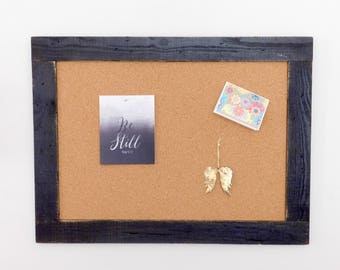 EXTRA LARGE CORKBOARD -  Framed Bulletin Board - Rustic Distressed Finish - Shown in Black - 30 x 40 -Many Color Options