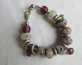 Bracelet - Purple - Lavender -Beaded  Bracelet - Vintage