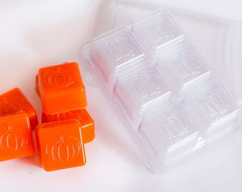 6 Cavity Pumpkin Embossed Soap Sample or Candle Tart Mold