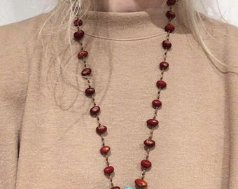 Red Beaded necklace with Turquoise pendant