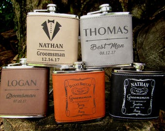 Groomsman Flask Set of 8, Personalized Flask, Engraved Hip Flask, Bridal Party Gift, Father of Bride, Father of Groom, Usher