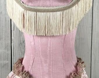 Vintage Dress Form Pink Ruffles Tassle Trim Cottage Chic Home Decor Wasp Waist Mannequin Victorian Dress Display by picadillymarket