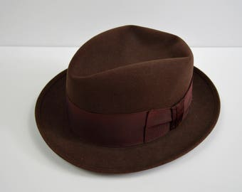 Vintage 1950s/1960s Brown Fedora by Dobbs Size 7 1/8
