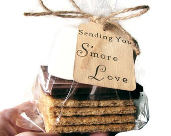 SELECT AMOUNT 25 - 300 Hand Stamped Stained Sending You S'more Love Tags. Spring Wedding Favors. Smores. Smore. DIY Wedding. Vintage. Favor.