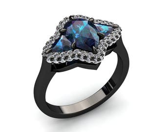 Unique Alexandrite Ring 1.80 Carat Color Change Alexandrite Three Stone Ring With Pave Set Diamonds In 14k or 18k Black Gold SJW8ALEXBK