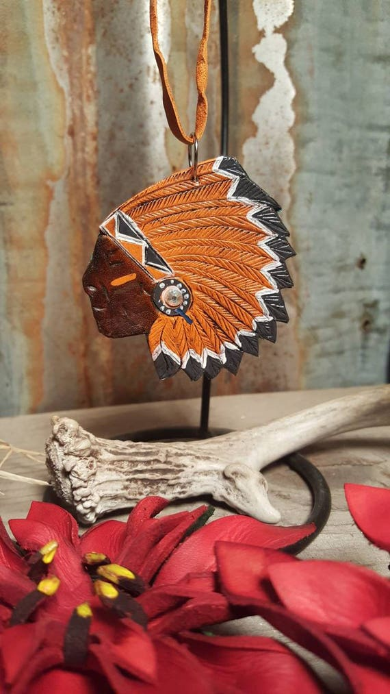 Leather Indian Chief Christmas Ornament