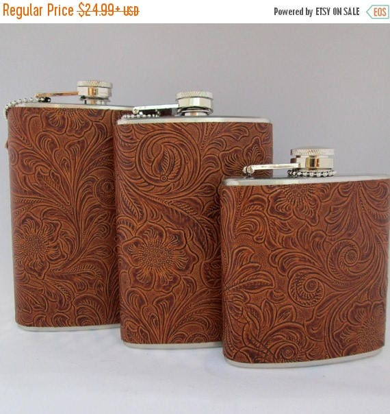 Water Buffalo Embossed Leather Flask