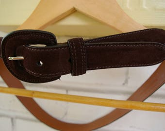 90's Brown Leather Suede Belt