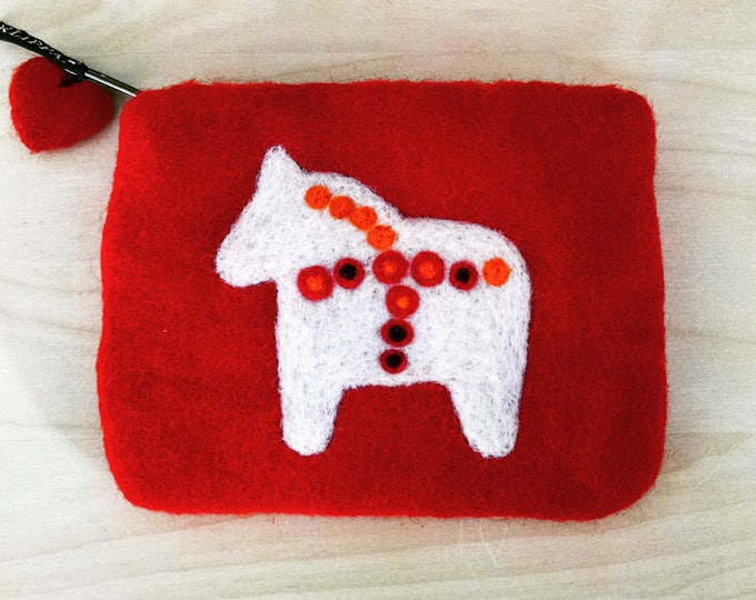 Vintage Swedish Dala Horse Felted Wool Coin Purse Pouch