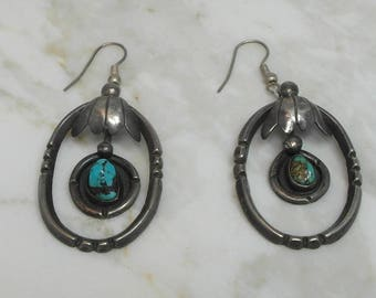 Native American Made Turquoise Sterling Silver Dangle Earrings