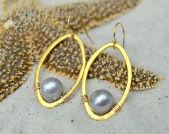 Gray Freshwater Pearl Earrings- Pearl Earrings- Gold Pearl Earrings