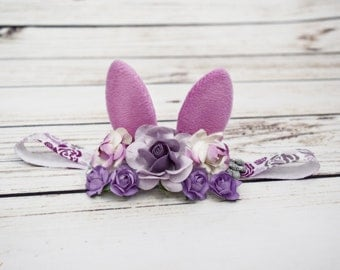 Handcrafted Small Soft Purple Silver and White Bunny Ears Headband - Easter Baby Girl Headband - Rabbit Headpiece - Cute Easter Bows Newborn