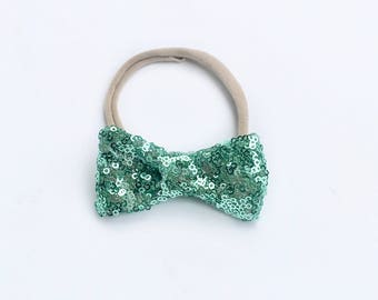 Green Sequin Bow, Aqua hair bow, nylon headband, baby girl hair bow, newborn hair bow, mermaid hair bow jade sequin bow