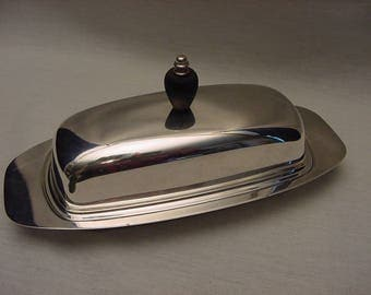 Vintage Sheffield Silver Plate Covered Butter Dish Glass Insert Wood Finial Mid Century
