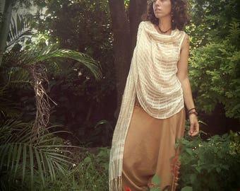 Shawl vest silk