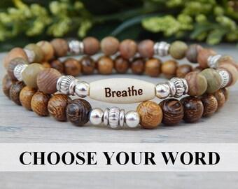 Breathe Bracelet, Stacked Bracelet, Intention Bracelet, Beaded Bracelet,  Wood Bracelet, Nature Bracelet, Natural bracelets