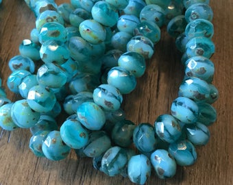 7x5 green picasso rondelles, Czech glass beads 7x5 turquoise green rondelles