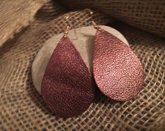Bronze Leather Teardrop Earrings