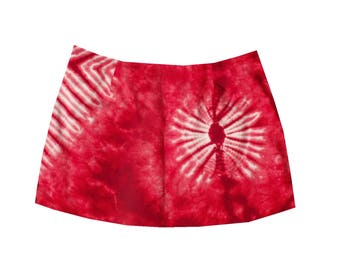 Tie Dye Cotton Mini Skirt - Red Hippy Short Skirt