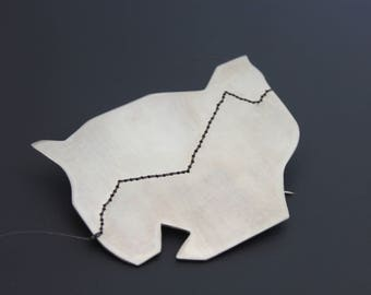 Travel, Sterling Silver, Geometric Brooch