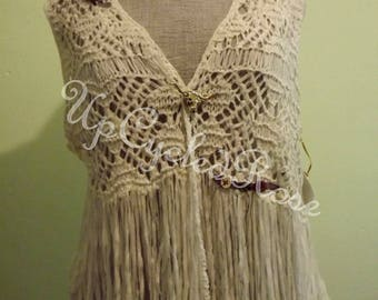 Cowgirl Bohemian Style Crochet Vest Shabby Couture Art to Wear Ready to Ship