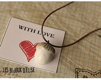 Acorn Necklace Acorn Pendant Necklace Acorn Charm (C70) - Ceramic Bead