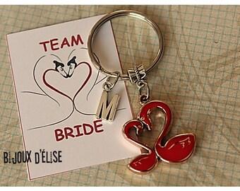 Swan Keychain Couple Keychain Party Favors Bridesmaids Team Bride (KC127)