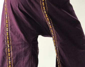 F80057 Hand Stitch Thai Fisherman Pants Wide Leg pants, Wrap pants, Unisex pants