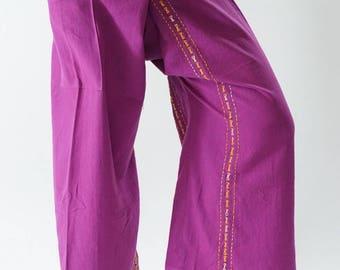 F80063 Hand stitch Unisex Thai fisherman pants, stitch Inseam design for Thai Fisherman Pants Wide Leg pants, Wrap pants
