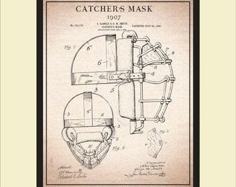 Sports blueprint etsy baseball catchers mask patent print wall art vintage catchers mask blueprint art vintage malvernweather Choice Image