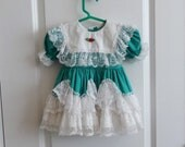 1980s Girl's Frilly Dress in Teal with White Lace, Size 1 to 2, Cotton Poly Blend, Full Gathered Skirt, Lace Ruffles, Tie Sash