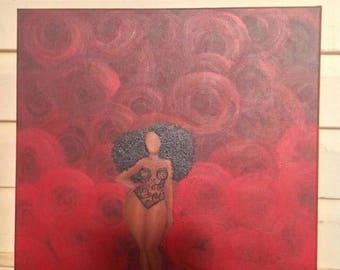 Sacred Awakening, African American art print, black woman painting