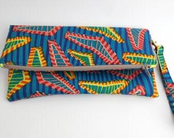 Blue African Print Wristlet