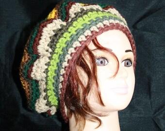 beret multicolor wool, acrylic, scratch asymmetry
