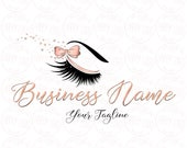 DIGITAL Custom logo design , lash with pink bow logo, lashes beauty logo, makeup logo, rose gold lashes logo design, rose gold foil logo bow