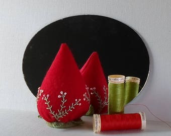 Handmade Strawberry Pincushion Felted Wool Red & Peach Pincushion