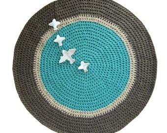 round mat non-slip, turquoise, grey, dark grey, had