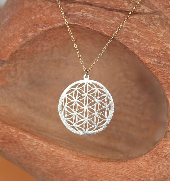 Gold mandala necklace - yoga jewelry - meditation - flower of life necklace