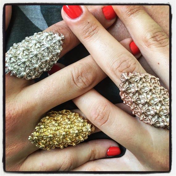 Etherial Jewelry Rock Chic Talisman Luxury Biker Custom Handmade Artisan Pure Sterling Silver .925 Designer Gauntlet Full Finger Ring