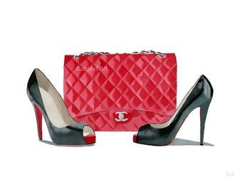 Art Print of CHRISTIAN LOUBOUTIN Black Shoes, Chanel Red Bag  Fashion Gifts, Wall Art