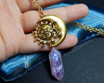 Astronomy sun/moon resin glow in the dark crystal necklace kawaii, moonchild witchy, tarot, gipsy, boho