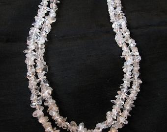 White quartz crystal necklace, long necklaces vintage jewelry