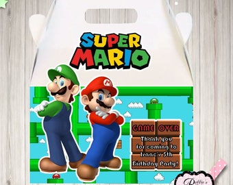 10 Super Mario Brothers Inspired party Boxes, Mario and Luigi party boxes