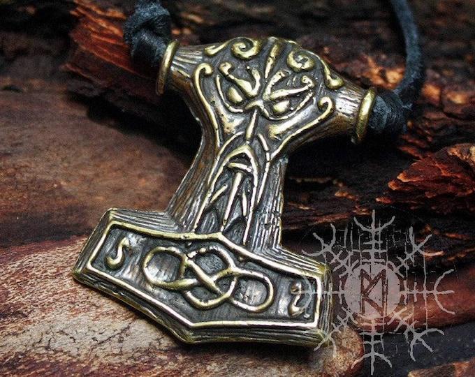 Bronze Mjolnir Thor's Hammer Thor Face Viking Nordic 3D Pendant Necklace BM10