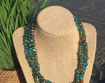 Beaded Necklace-Blue Glass Bead Necklace-Women's Jewelry-Blue Iridescent Swirl Glass Beads-Handmade Jewelry-Gift for Mom-Beach Jewelry