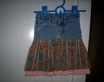 Recycled Faded Glory Girls Jeans Size 4 into a Skirt