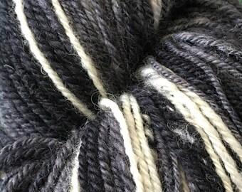 Handspun BFL/Tussah 3-ply yarn