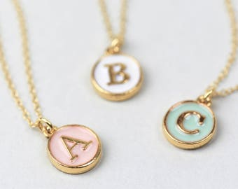 Pastel Initial Necklace • Enamel Initial Necklace • Initial Disc Necklace • Gold Initial Necklace • Letter Charm • Personalised Necklace